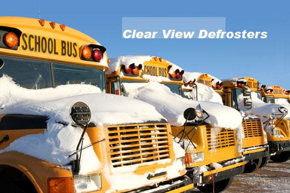 Defrost bus windshields low in the wiper parking area