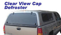 Truck cap and topper defroster for rear window